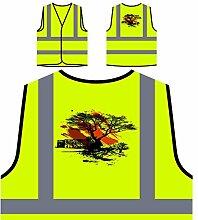 Design mit Baum Vintage Kunst Personalisierte High Visibility Gelbe Sicherheitsjacke Weste pp7v