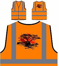 Design mit Baum Vintage Kunst Personalisierte High Visibility Orange Sicherheitsjacke Weste pp7vo