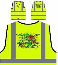 Design mit Dämon Mann Clown Neuheit Personalisierte High Visibility Gelbe Sicherheitsjacke Weste nn76v