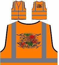 Design mit Dämon Mann Clown Neuheit Personalisierte High Visibility Orange Sicherheitsjacke Weste nn76vo