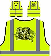 Design mit Dämon Mann Gesicht Schädel Personalisierte High Visibility Gelbe Sicherheitsjacke Weste nn74v
