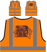 Design mit Dämon Mann Gesicht Schädel Personalisierte High Visibility Orange Sicherheitsjacke Weste nn74vo
