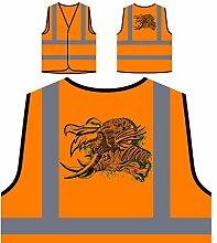 Design mit Dämon Mann Neuheit Kunst Personalisierte High Visibility Orange Sicherheitsjacke Weste oo15vo