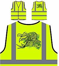 Design mit Dämon Mann Neuheit Kunst Personalisierte High Visibility Gelbe Sicherheitsjacke Weste oo15v