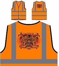 Design mit Dämon Mann Neuheit Personalisierte High Visibility Orange Sicherheitsjacke Weste nn75vo