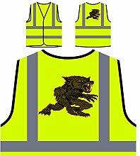 Design mit Dämon Wolf Kunst Neuheit Personalisierte High Visibility Gelbe Sicherheitsjacke Weste oo6v