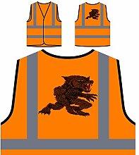 Design mit Dämon Wolf Kunst Neuheit Personalisierte High Visibility Orange Sicherheitsjacke Weste oo6vo