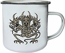 Design mit Drachen Skelett Dämon Art Retro, Zinn, Emaille 10oz/280ml Becher Tasse oo89e