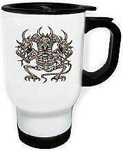 Design mit Drachen Skelett Dämon Art Weiß Thermischer Reisebecher 14oz 400ml Becher Tasse oo89tw