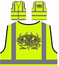 Design mit Drachen Skelett Dämon Kunst Personalisierte High Visibility Gelbe Sicherheitsjacke Weste oo89v