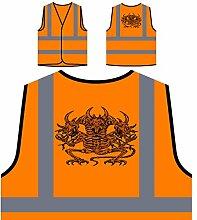 Design mit Drachen Skelett Dämon Kunst Personalisierte High Visibility Orange Sicherheitsjacke Weste oo89vo