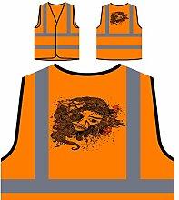 Design mit Frau Neuheit lustige Kunst Personalisierte High Visibility Orange Sicherheitsjacke Weste oo14vo