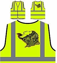 Design mit Frau Neuheit lustige Kunst Personalisierte High Visibility Gelbe Sicherheitsjacke Weste oo57v