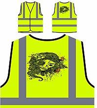 Design mit Frau Neuheit lustige Kunst Personalisierte High Visibility Gelbe Sicherheitsjacke Weste oo14v