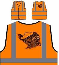 Design mit Frau Neuheit lustige Kunst Personalisierte High Visibility Orange Sicherheitsjacke Weste oo57vo
