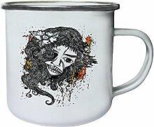 Design mit Frau Neuheit Lustige Kunst Retro, Zinn, Emaille 10oz/280ml Becher Tasse oo14e