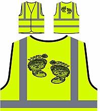 Design mit Fuß Gesicht Neuheit lustig Personalisierte High Visibility Gelbe Sicherheitsjacke Weste nn70v