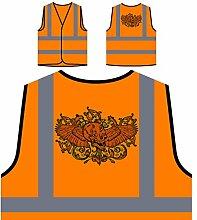 Design mit geflügeltem Schädel und Blumen Personalisierte High Visibility Orange Sicherheitsjacke Weste oo3vo