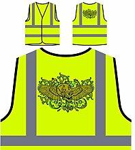 Design mit geflügeltem Schädel und Blumen Personalisierte High Visibility Gelbe Sicherheitsjacke Weste oo3v