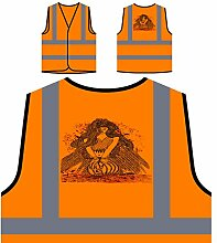 Design mit geflügelter Frau Neuheit Personalisierte High Visibility Orange Sicherheitsjacke Weste nn77vo