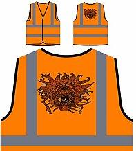Design mit Horroraugen Neuheit lustige Kunst Personalisierte High Visibility Orange Sicherheitsjacke Weste oo29vo