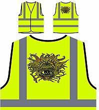 Design mit Horroraugen Neuheit lustige Kunst Personalisierte High Visibility Gelbe Sicherheitsjacke Weste oo29v