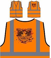 Design mit Schädel, Mädchen, Blumen und Fäusten Personalisierte High Visibility Orange Sicherheitsjacke Weste oo4vo
