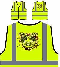 Design mit Schädel, Mädchen, Blumen und Fäusten Personalisierte High Visibility Gelbe Sicherheitsjacke Weste oo4v