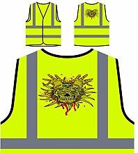 Design mit Schädel Neuheit Kunst Personalisierte High Visibility Gelbe Sicherheitsjacke Weste nn85v