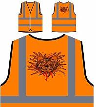 Design mit Schädel Neuheit Kunst Personalisierte High Visibility Orange Sicherheitsjacke Weste nn85vo