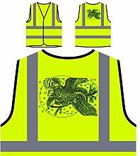 Design mit Vogelkunst Neuheit Personalisierte High Visibility Gelbe Sicherheitsjacke Weste nn79v