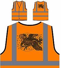 Design mit Vogelkunst Neuheit Personalisierte High Visibility Orange Sicherheitsjacke Weste nn79vo