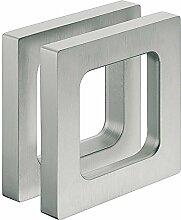 Design Möbelgriff Edelstahl-Optik Glastürgriff zum Kleben Muschelgriff eckig für Glastüren - Modell H3695 | Griffmuschel zum Aufkleben | 75 x 75 x 10 mm | Möbelbeschläge von GedoTec®