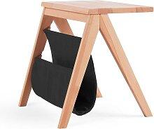 Design Nachttisch aus Kernbuche Massivholz Schwarz Kunstleder