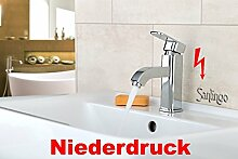 Design Niederdruck Armatur Waschbecken Massiv Einhebel in Chrom