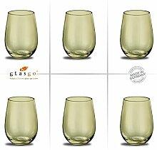 Design O-Glas, Weinglas, Wasserglas, 6er Set Gläser für Rotwein, Weißwein, Wasser, Saft, Cocktails, Tischlicht, Windlicht, farbig, bunt, Farbe olive. Stilvolle Impressionen