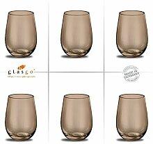 Design O-Glas, Weinglas, Wasserglas, 6er Set Gläser für Rotwein, Weißwein, Wasser, Saft, Cocktails, Tischlicht, Windlicht, farbig, bunt, Farbe cognac. Stilvolle Impressionen