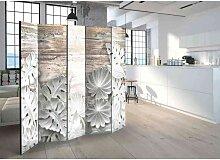 Design Paravent mit Blättern in Stuck Optik Weiß