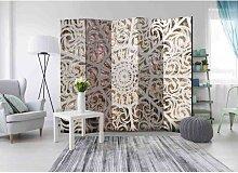 Design Paravent mit Mandala Muster Weiß und Beige