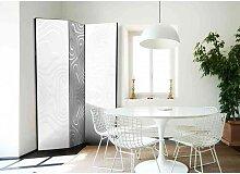 Design Paravent mit Moire Stoff Muster Weiß