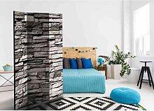 Design Paravent mit Steinmauer Muster 3 teilig