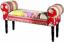 Design Patchwork Bank IBIZA mehrfarbig Sitzbank bunte Bank mit Armlehnen