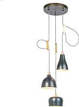 Design Pendelleuchte zink mit 3-Lichtquellen -