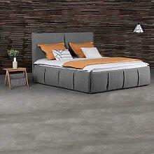 Design Polsterbett in Grau Webstoff mit 2 Nachttischen (3-teilig)