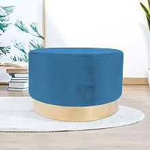 Design Polsterhocker in Blau Samt rund