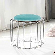 Design Polsterhocker in Mintgrün und Silberfarben