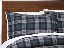 Design port Winton green and navy tartan plaid brushed cotton duvet cover pillowcase