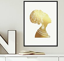 Design-Poster 'Woman Gold' 30x40 cm Goldaufdruck Motiv Frau Afrika Dekoration