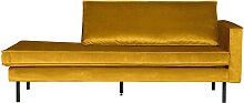 Design Recamiere in Gelb Samtbezug Retro Look