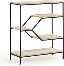 Design Regal aus Mangobaum Massivholz Stahl Schwarz